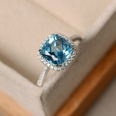 Swiss blue topaz ring cushion cut sterling silver by LuoJewelry