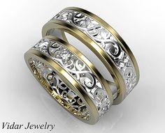 Su y su anillo de bodas que emparejan Set diamante por Vidarjewelry