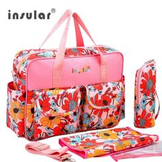 INSULAR Baby's Diaper Bag Mummy Bag Colorful Waterproof Large Capacity  Multifunctional Fashion Lady Handbag Shoulder Bag Set