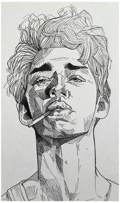 Boy with a cigarette, Me, Black pen, 2019 #black #pen #art #sketchbooks #drawings #blackpenartsketchbooksdrawings Art Drawings Sketches Simple, Pencil Art Drawings, Portrait Sketches, Sketches Of Boys, Portrait Art, Black Pen Sketches, Hard Drawings, Boy Sketch, Detailed Drawings