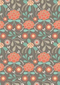 Brown retro floral pattern