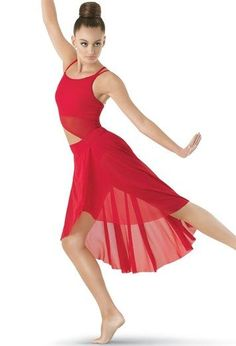 Asymmetrical Mesh Dress - Balera - Product no longer available for purchase Christmas Dance Costumes, Cute Dance Costumes, Dance Costumes Lyrical, Jazz Costumes, Ballet Costumes, Dance Leotards, Lyrical Dance, Baile Jazz, Contemporary Dance Costumes