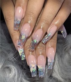 Broken glass nails are the hottest and the latest trend in nail art. You wear jewelry and other accessories to match your nails. The broken glass nails don't sound so terrible. Acrylic Nails Natural, Best Acrylic Nails, Acrylic Nail Art, Acrylic Nail Designs Coffin, Colored Acrylic Nails, Pink Acrylics, Gorgeous Nails, Pretty Nails, Amazing Nails