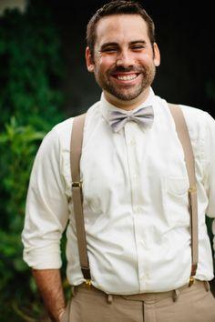 bow tie and suspenders for vintage inspired groom attire #groom #groomattire #weddingchicks http://www.weddingchicks.com/2014/01/30/time-travel-wedding/