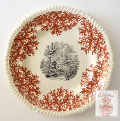 Spode Copeland Fly Fishing Plate Two Color Transferware Black & Brick