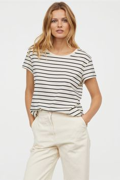 34c4f8ce17c Women s Striped Any Day Short Sleeve Scoop Neck T-Shirt - A New Day ...