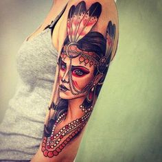 Native American woman upper arm tattoo - 25 Native American Tattoo Designs <3 !