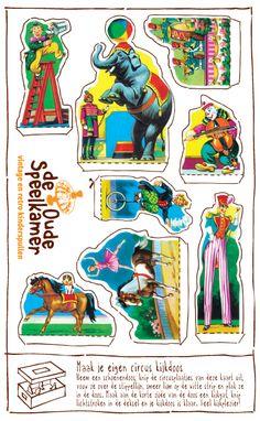 DIY van De Oude Speelkamer - Maak een kijkdoos met deze nostalgische circus poezieplaatjes.