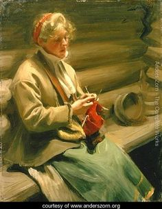 Girl from Dalecarlia knitting