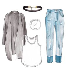Good objects - Basics + choker @isabelmarant jeans @acnestudios long cardigan watercolor illustration