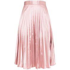 Harmonia Blush Satin Pleated Midi Skirt (€22) ❤ liked on Polyvore featuring skirts, calf length skirts, mid calf skirts, pink midi skirt, satin pleated midi skirt and pink skirt