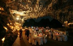 I think getting married in a cave would be amazing.