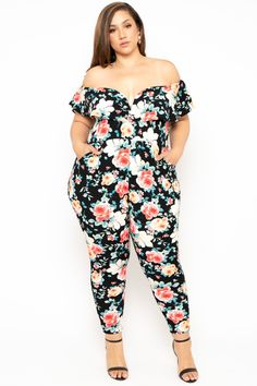 This plus size, stretch knit jumpsuit features an all over floral print, off the shoulder neckline, a frill ruffle detailing with an added underwire for an added support, a sleeveless cut, front side pockets, and a tapered leg.  Made in USA  Content + Care 68% Rayon, 25% Nylon, & 7% Spandex Machinewash cold  Mo Plus Size Jumpsuit, Black Jumpsuit, Jumpsuit Dressy, Curvy Women Fashion, Plus Size Fashion, Fashion Black, Petite Fashion, Fall Fashion, Style Fashion