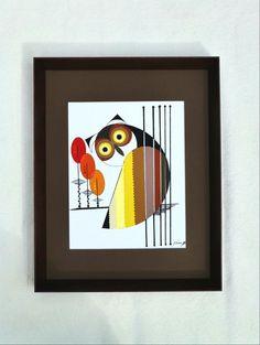 Mod Retro original owl painting mid century by COLBYandFRIENDS Mid Century Modern Art, Cat Drawing, Mid-century Modern, Owl, The Originals, Retro, Unique Jewelry, Handmade Gifts, Cats