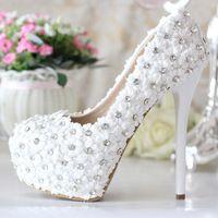 Laço branco de ultra alto sapatos de noiva sapatos formal vestido de tênis imitação sapatos de casamento 14