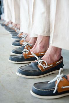 For a nautical wedding a groom and his groomsmen cannot be without their boat shoes :) #nautical #wedding