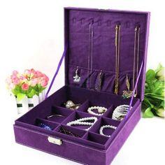 Amazon.com - KLOUD City Purple two-layer lint jewelry box organizer display storage case with lock - Jewelry Trays