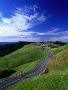 Bicycle Rider on Long and Winding Road, Mount Tamalpais, California, USA Photographic Print by Thomas Winz at AllPosters.com