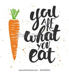 Card with hand drawn unique typography design element for greeting cards, decoration, prints and posters. You are what you eat, modern ink brush calligraphy with splash. Handwritten lettering.