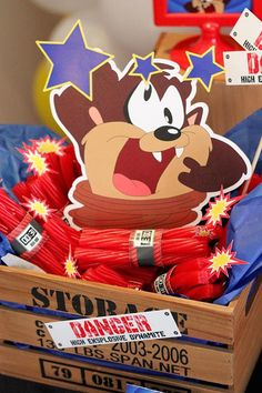 Looney Tunes Tazmanian Devil themed birthday party via Kara's Party Ideas… Looney Tunes Party, Baby Looney Tunes, 1st Birthday Party Themes, Baby First Birthday, Birthday Ideas, Space Jam Theme, Looney Toons, Baby Shower, Baby Party