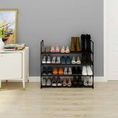 Homebi Shoe Rack Metal Shoe Tower Shoe Storage Organizer Unit Entryway Shelf Stackable Cabinet with 4 Tiers Durable Metal W x D x H (Black) Cheap Shoe Rack, Best Shoe Rack, Diy Shoe Rack, Shoe Storage Shelf, Shoe Storage Organiser, Shoe Rack Organization, Slatted Shelves, Metal Shelves, 4 Tier Shoe Rack