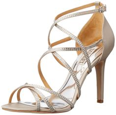 Badgley Mischka Women's Meghan Dress Sandal, Silver, 9 M US. Satin sandal featuring glittering pumps and covered heel.