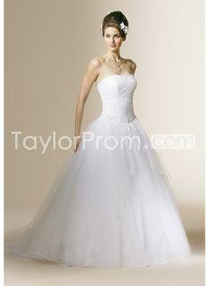 Tulle Strapless Beaded Bodice with Gall Gown Style and Sweep Train Hot Sell Wedding Dress WL-0098