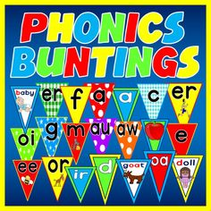 A great set of phonics bunting to print and display around your classroom, play centre or child minders. Each bunting is size and contains 90 letters and sounds per set. The sets are listed below and each can be seen on the photo. Phonics Display Ks1, Alphabet Wall Decals, Key Stage 1, Numbers Kindergarten, Display Lettering, Play Centre, Letter Sounds, Eyfs, Star Patterns