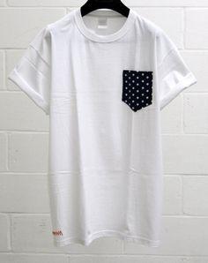 Men's Stars Pattern White Pocket TShirt Men's T by HeartLabelTees, £9.95