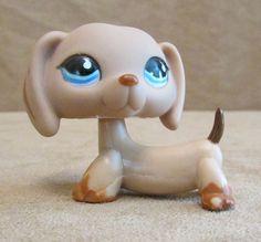 518 Dachshund light brown Dog Littlest Pet Shop Hasbro LPS blue eyes #Hasbro