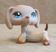 518 Dachshund light brown Dog Littlest Pet Shop Hasbro LPS blue eyes #Hasbro