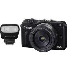 Canon EOS M2 Mark II 18.0 MP Digital Camera with EF-M 22MM f/2 STM Lens & 90EX Speedlight Flash(Black) - International Version (No Warranty). 18.0-megapixel APS-C CMOS sensor, DIGIC 5 processing, EF-M 22MM f/2 STM Lens, 90EX Speedlight Flash. Hybrid CMOS AF II system, Sensitivity: ISO 100-12,800, expandable to ISO 25,600. 4.6 FPS high-speed burst, 3-inch touchscreen LCD display. 1080p full HD video, Movie Servo AF continuous subject tracking. 8% reduction of body size than older models...