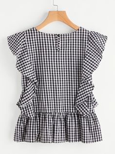 SheIn offers Gingham Frill Trim Blouse & more to fit your fashionable needs. Mom Outfits, Stylish Outfits, Cute Outfits, Fashion Outfits, Blouse Styles, Blouse Designs, Mode Chic, Outfit Trends, Gingham Dress