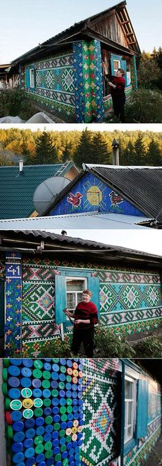 Plastic bottle cap house created by pensioner in Kamarchaga, in the Siberian taiga. Traditional patterns in a modern medium.