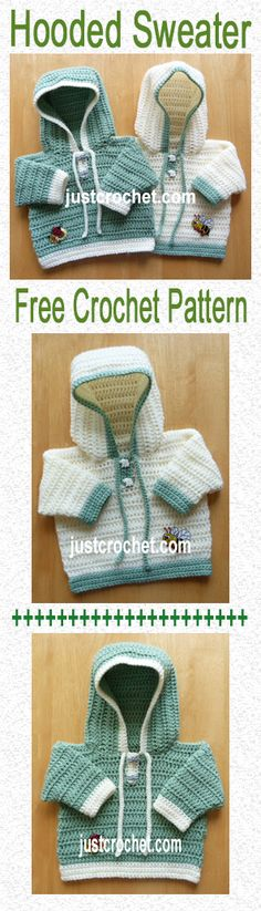 Free crochet pattern for hooded Sweater, swap the buttonholes to opposite side and it's suitable for both boy or girl. #crochet