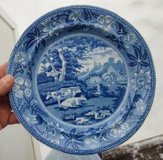 Antique English Staffordshire Blue Transfer Ware Plate, Cows at Pasture,  NR