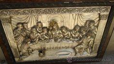 La Ultima Cena cuadro antiguo en relieve en metal, estuco,madera,marco- 80 CM POR 57 CM( vendido,sold)