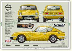 Triumph GT6 Mk3 1970-73 classic sports car portrait print at Bentley wildfowl & Motor Museum