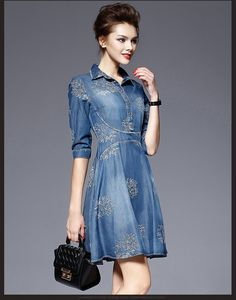2016 printemps femmes New Vintage Denim robes femmes col Polo à manches courtes Floral broderie robe robes Plus Size robe dans Robes de Accessoires et vêtements pour femmes sur AliExpress.com | Alibaba Group