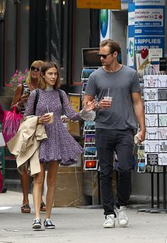 Alexa Chung and Alexander Skarsgard (July 2015) - that cup looks tiny in his hand!