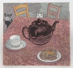 Richard Bawden. Tea for Two (Cats)