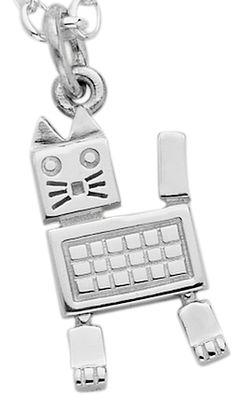 Karen Walker - Cat Robot Charm - Sterling Silver