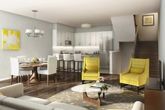 Living Room / Dining Room / Kitchen at Humber Mews in Etobicoke Dining Room, Room Kitchen, Living Room Interior, Townhouse, Small Spaces, Condo, Home And Family, New Homes, Table
