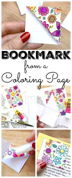 """""""Make your own bookmarks with this tutorial from Jen Goode! We are thrilled to have Jen back again this month with a fun tutorial using any coloring pages you might have around your home. Summer is here and were doing a ton of reading in our house."""""""