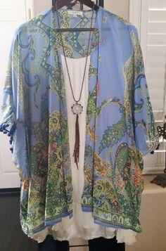 Let's Go Plus Size Open Summer Kimono Jacket Cardigan Pom Pom Trim Light Blue XL / 1XL 1XL/ 2XL