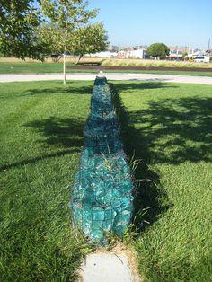 Recycled glass gabion by Lauren Takeda, via Flickr