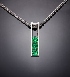 Argentium silver and emerald pendant designed by David Worcester for VerbenaPlaceJewel…