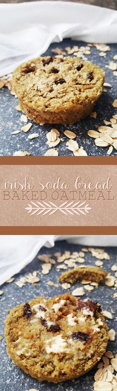 {Healthy, Low Calorie, Vegan, GF-adaptable} This Irish soda bread baked oatmeal is yummy and easy to make, whether you eat it for breakfast or as your very own single-serving loaf!