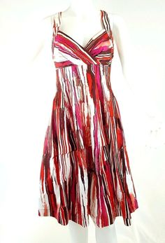 Calvin Klein Dress Women's Size 6 Fit Flare Polished Cotton Blend Red Pleats #CalvinKlein #Sundress #girlfriendgift