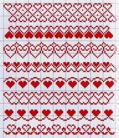 Захотелось мне повышивать крестиком сердечки, и дело тут вовсе не в Дне святого Валентина :) И выяснилось, что простые и понятные схемы красивых сердечек, желательно небольших, которые можно отшить быстро, найти в интернете не так-то просто. Чтобы вы с такими трудностями не сталкивались, я решила сделать эту полезную подборку. Добавляйте в избранное и пользуйтесь. Fair Isle Knitting Patterns, Bead Loom Patterns, Crochet Stitches Patterns, Knitting Charts, Crochet Chart, Knitting Stitches, Cross Stitch Heart, Cross Stitch Borders, Cross Stitch Designs